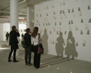 """""""Staff of life/Tägliches Brot"""" Installation. Drawings and Text on Paper bags. 2004 - now (ongoing project)"""