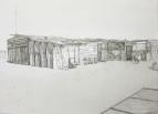 """""""Annas house"""" Soutrevier/Namib Wüste. Mischtechnik auf Leinwand, 1,10m x 80 cm. Sandra Schmidt 2016"""