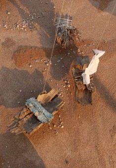 "Installation ""Escape"", mobile, ships made from wood and thorns of the dry riverbed near Gobabeb/Namib dessert, 2015"
