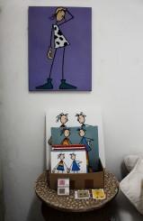 """Lange Nacht der Illustration 2016, Berlin. Atelierhaus im Hinterhof. Atelier Sandra Schmidt, """"Stich-Mädchen"""" Illustrationen von Sandra Schmidt"""