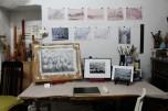 Lange Nacht der Illustration 2016, Berlin. Atelierhaus im Hinterhof. Workshopatelier Sandra Schmidt, Arbeiten von F.R.