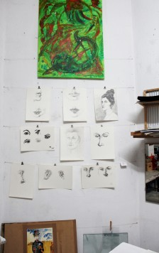 Lange Nacht der Illustration 2016, Berlin. Atelierhaus im Hinterhof. Workshop Atelier Sandra Schmidt, Arbeiten von Saga Burger, Andrea Koop und Margit