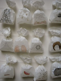 """""""Taegliches Brot / Staff of Life"""" , mixed media on paper bags, ongoing project since 2005"""