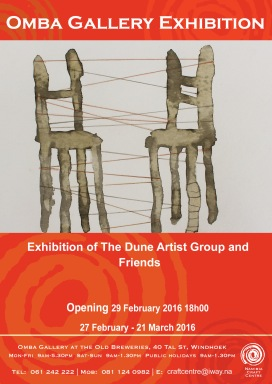 AD HOC Exibithion 2016. The Dune Artist Group and friends at OMBA Gallery, Windhoek/Namibia. Artists: Kirsten Wechslberger, Sandra Schmidt, Frieda Luehl, Kim Modise, Paul Kiddo, Mitchell Gatsy