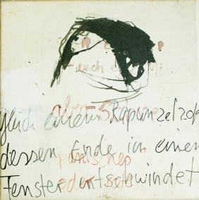 """Rapunzelzopf"", 20 cm x 20 cm, mixed media on paper on canvas, 2007"