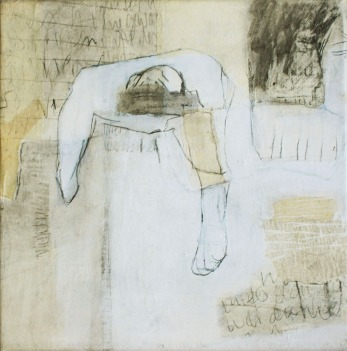 """Abschied/Passing"", 20cm x 20cm (part of series, 25 pieces), mixed media on canvas, 2005"