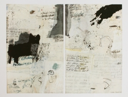 """Katzensprung"", diptichon, 36cm x 28cm, mixed media on wood, 2001"