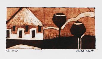 """Katatura Series"", Milk box print, 6cm x 14cm, Windhoek/Namibia 2015"