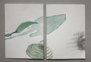 o.T., mixed media on paper, 21cm x 15cm, Thailand 2014