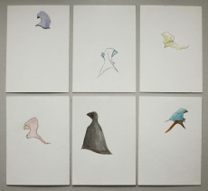 """Motorradfrauen"", mixed media on paper, each 7,5cm x 15cm, Thailand 2014"