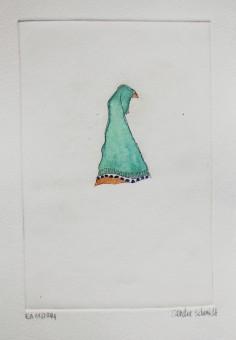 """""""Motorradfrauen"""" (Kopftuecher/Voegel), 10cm x 15 cm, etching/aquarell, Thailand 2014"""