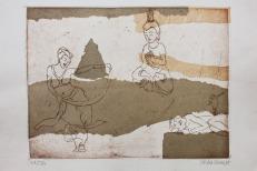 Collage/etching, 15cm x 20cm, Thailand 2014