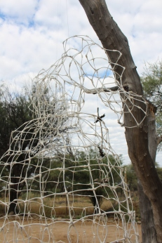 """Herero Dress"", Sandra Schmidt 2015, Windhoek/Namibia. Cotton bud, wire."