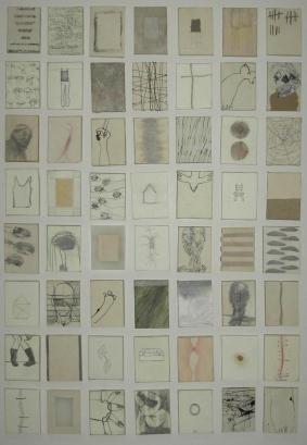 """""""Tagebuch/Diary"""", 4,5 x 5,5 cm per piece, ongoing project since 2004"""
